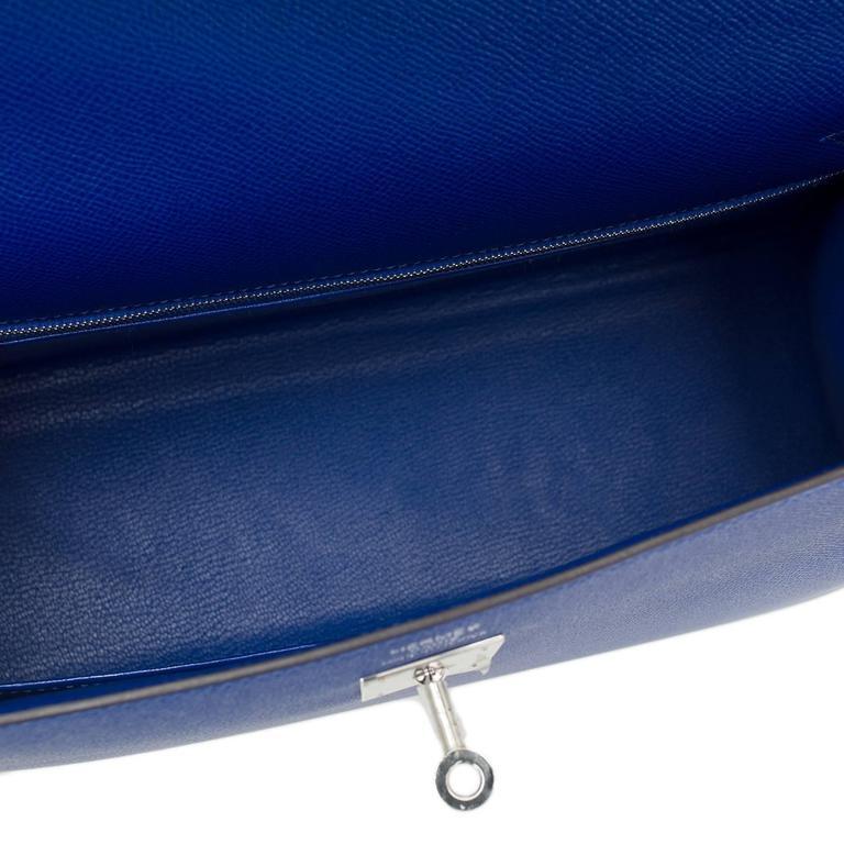 Hermes Blue Electric Epsom Sellier Kelly 35cm Palladium Hardware  For Sale 3