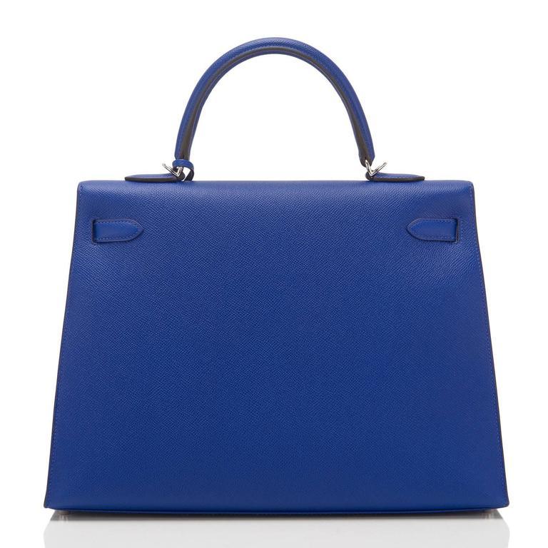Women's Hermes Blue Electric Epsom Sellier Kelly 35cm Palladium Hardware  For Sale