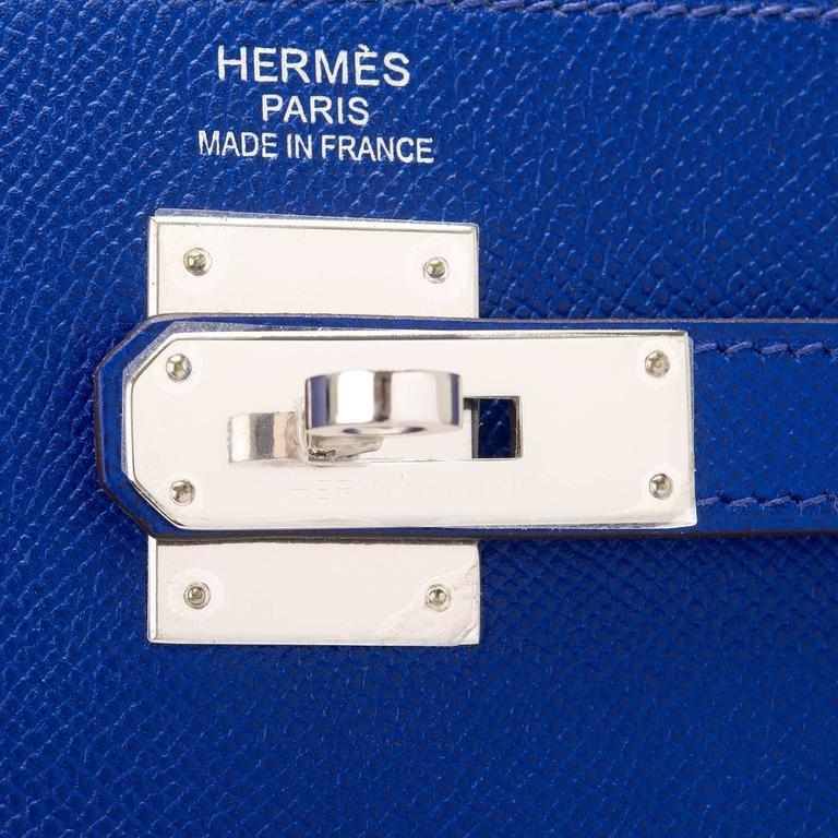 Hermes Blue Electric Epsom Sellier Kelly 35cm Palladium Hardware  For Sale 2
