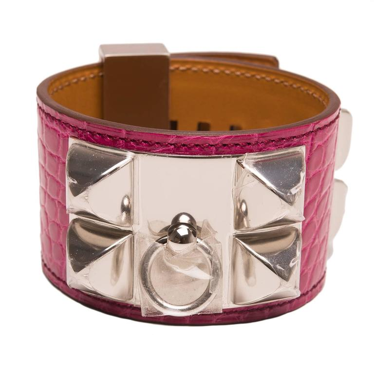 Hermes Rose Scheherazade Alligator Collier De Chien (CDC) Bracelet  For Sale