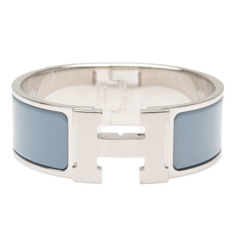 hermes gris orage clic clac h wide enamel bracelet pm at. Black Bedroom Furniture Sets. Home Design Ideas