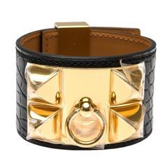 Hermes Black Matte Alligator Collier de Chien (CDC) Bracelet Small