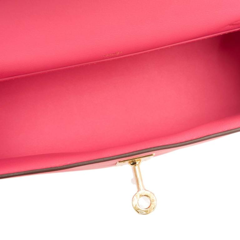 hermes rose azalea swift mini kelly pochette for sale at 1stdibs. Black Bedroom Furniture Sets. Home Design Ideas