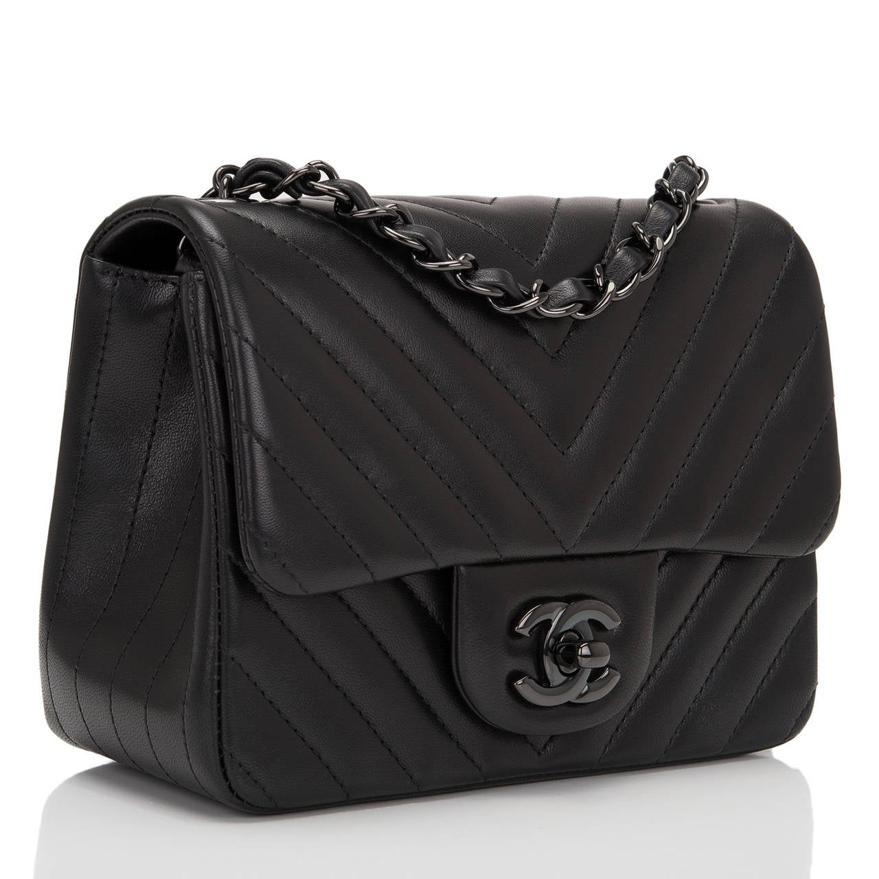Chanel So Black Chevron Mini Flap Bag At 1stdibs