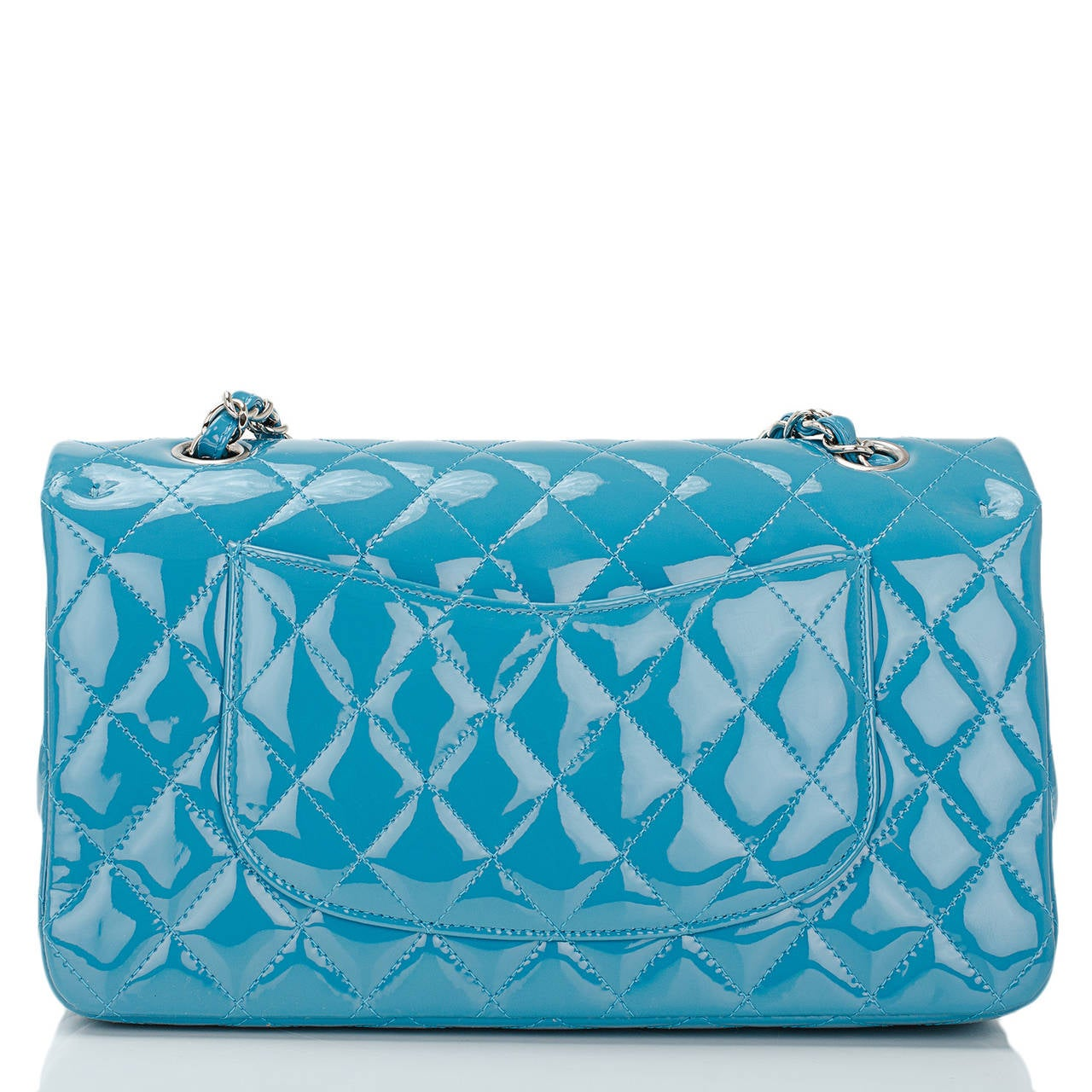 Chanel Turquoise Quilted Patent Medium Classic Double Flap Bag In New never worn Condition For Sale In New York, NY