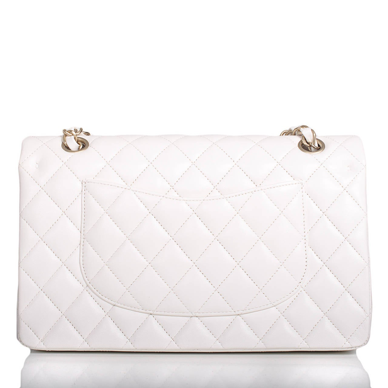 Chanel White Quilted Lambskin Large Classic Double Flap Bag Gold Hardware In New never worn Condition For Sale In New York, NY