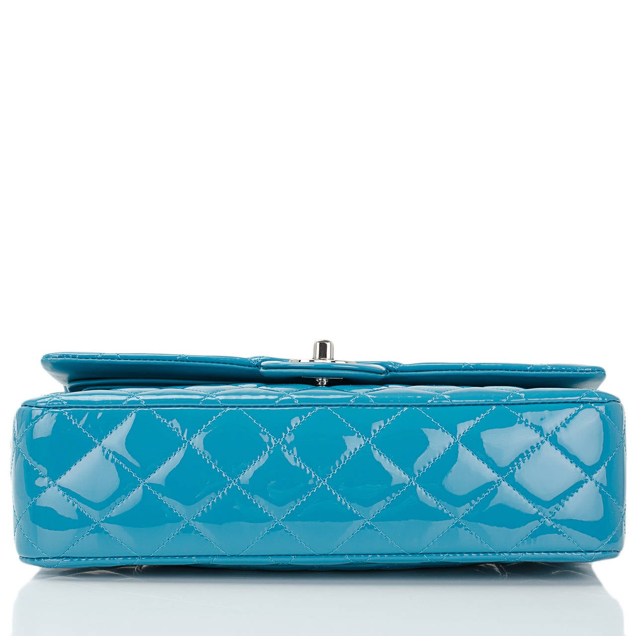 Women's Chanel Turquoise Quilted Patent Medium Classic Double Flap Bag For Sale