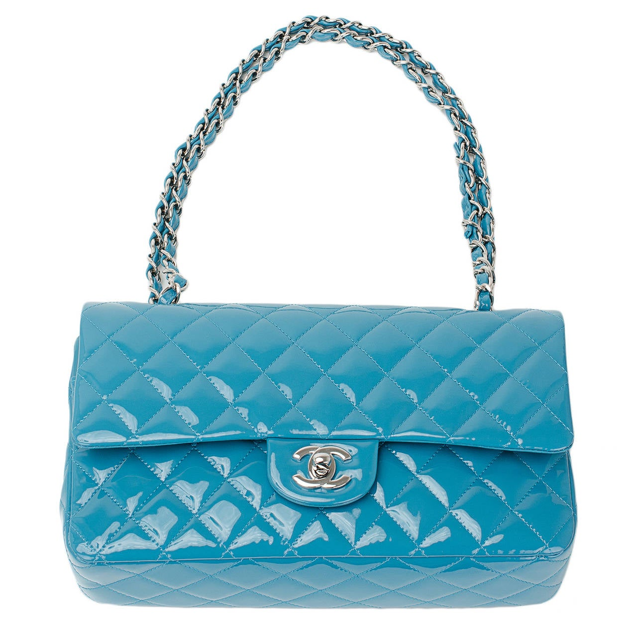 Chanel Turquoise Quilted Patent Medium Classic Double Flap Bag For Sale 1