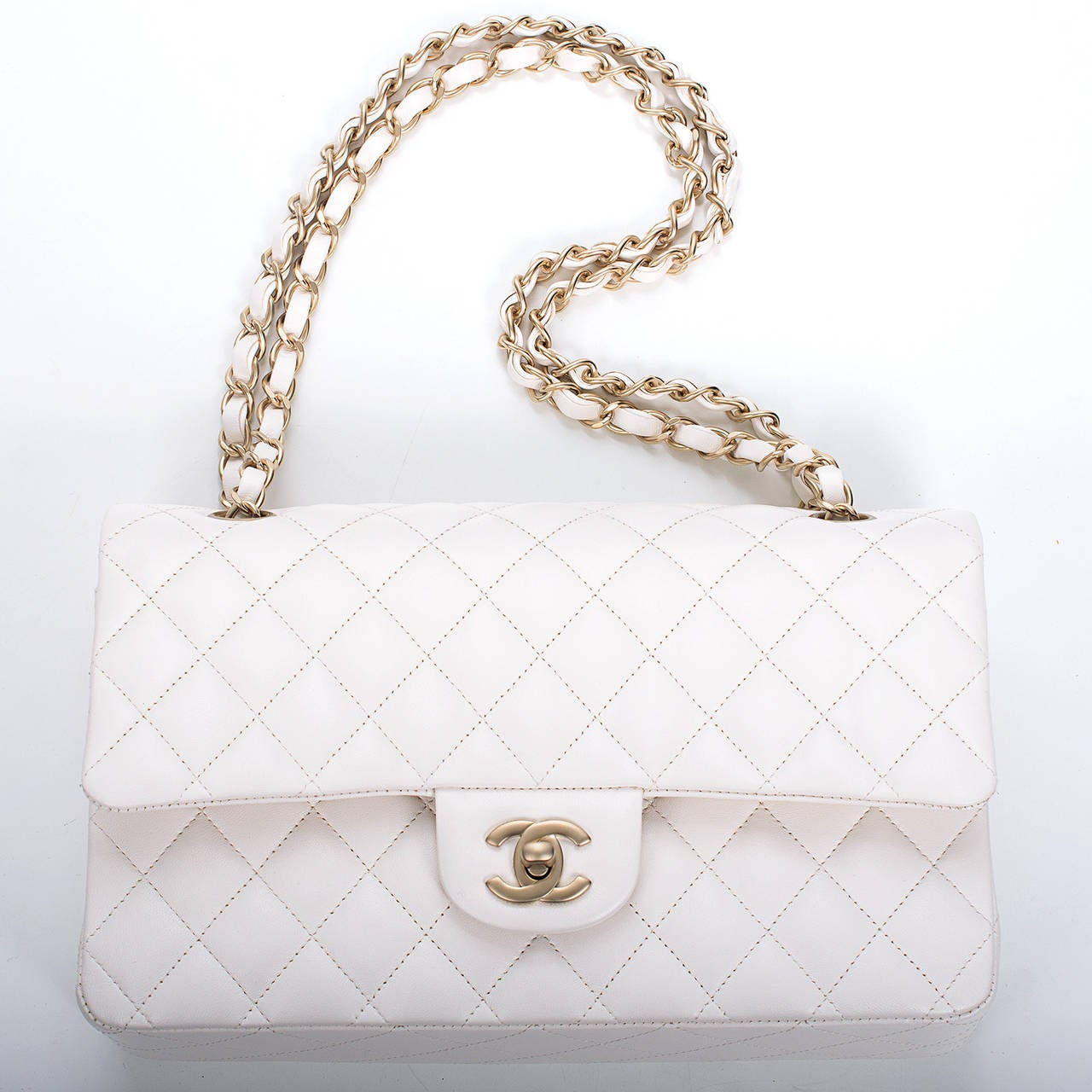 Chanel White Quilted Lambskin Large Classic Double Flap Bag Gold Hardware For Sale 1