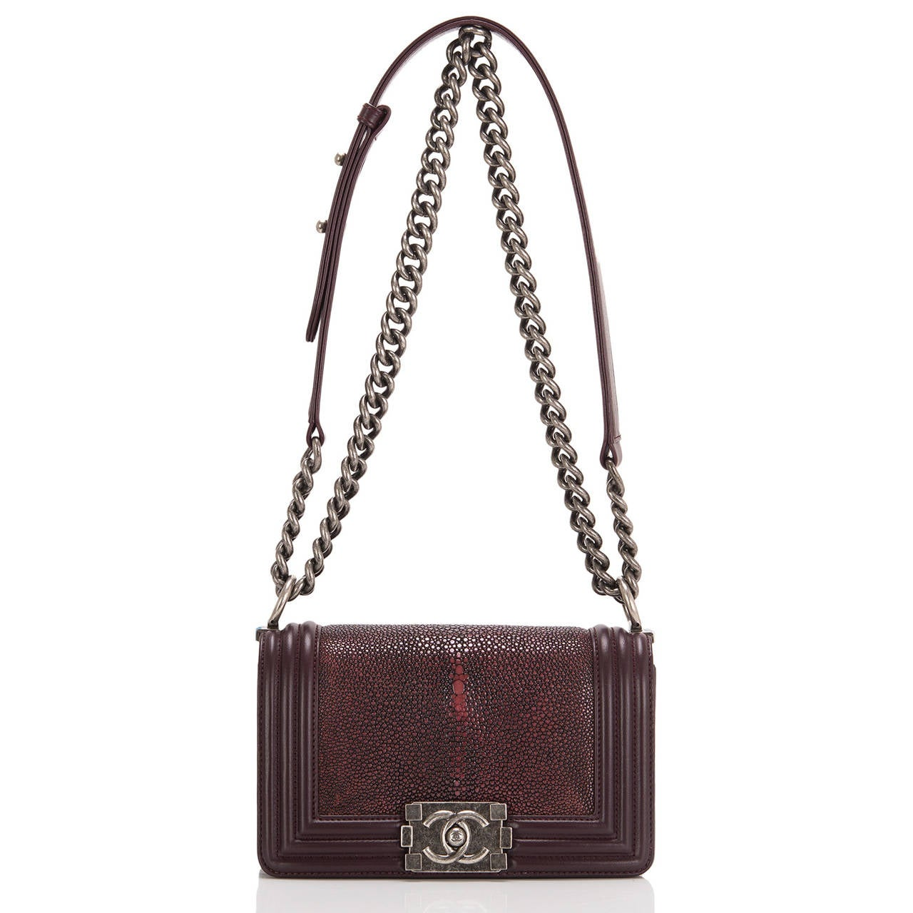 Women's Chanel Burgundy Stingray Small Boy Bag For Sale