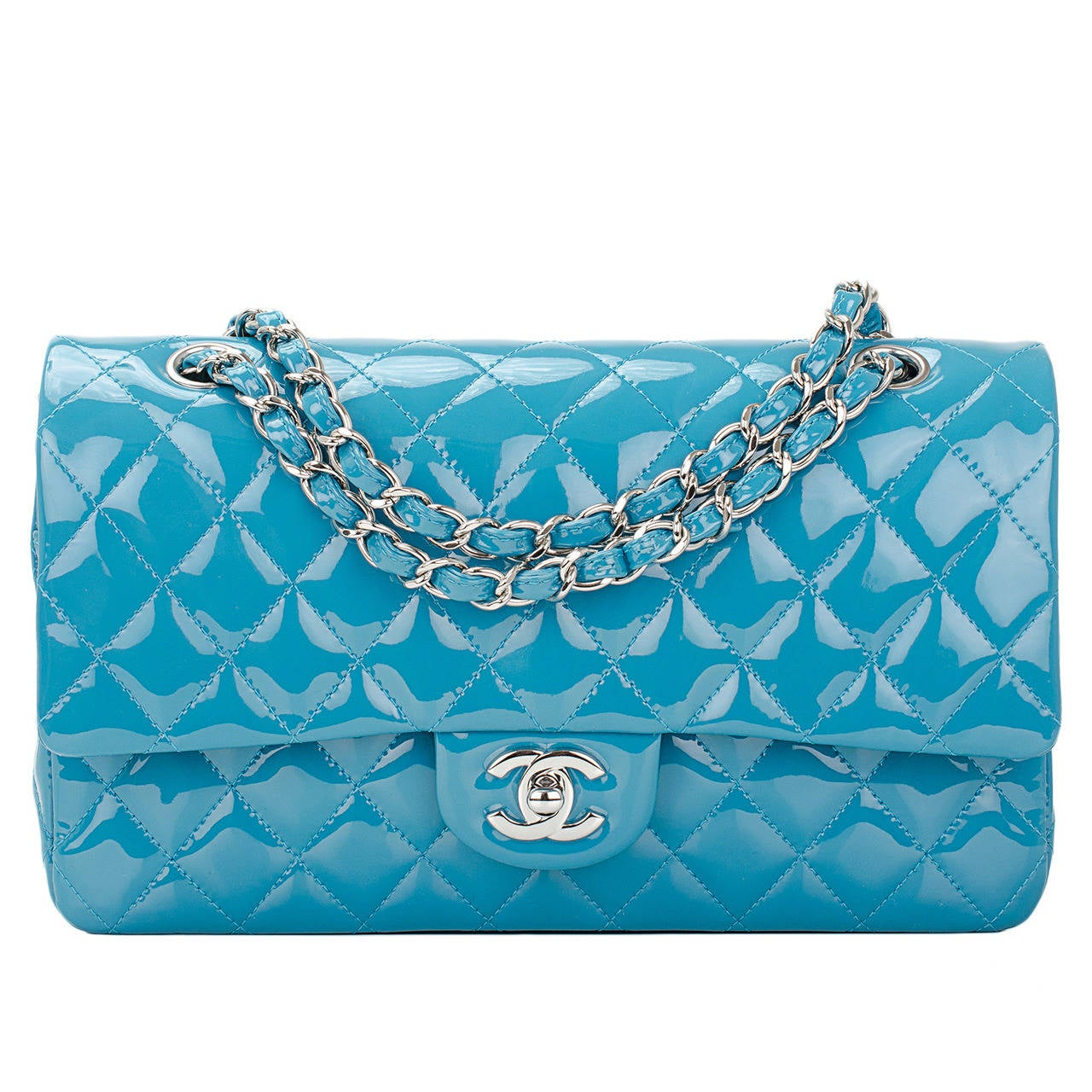Chanel Turquoise Quilted Patent Medium Classic Double Flap Bag For Sale