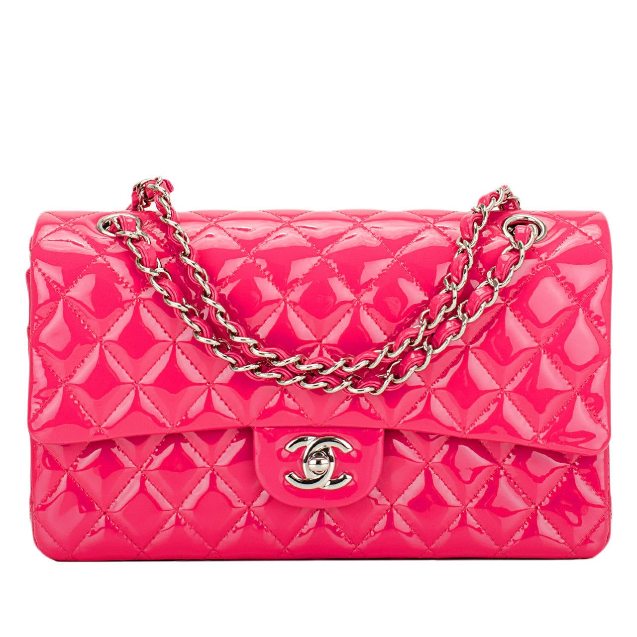 Chanel Pink Quilted Patent Medium Classic Double Flap Bag