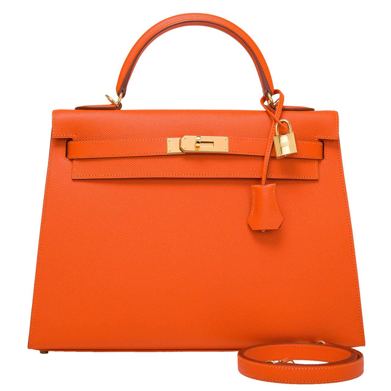Hermes Orange H Epsom Kelly Sellier 32cm For Sale