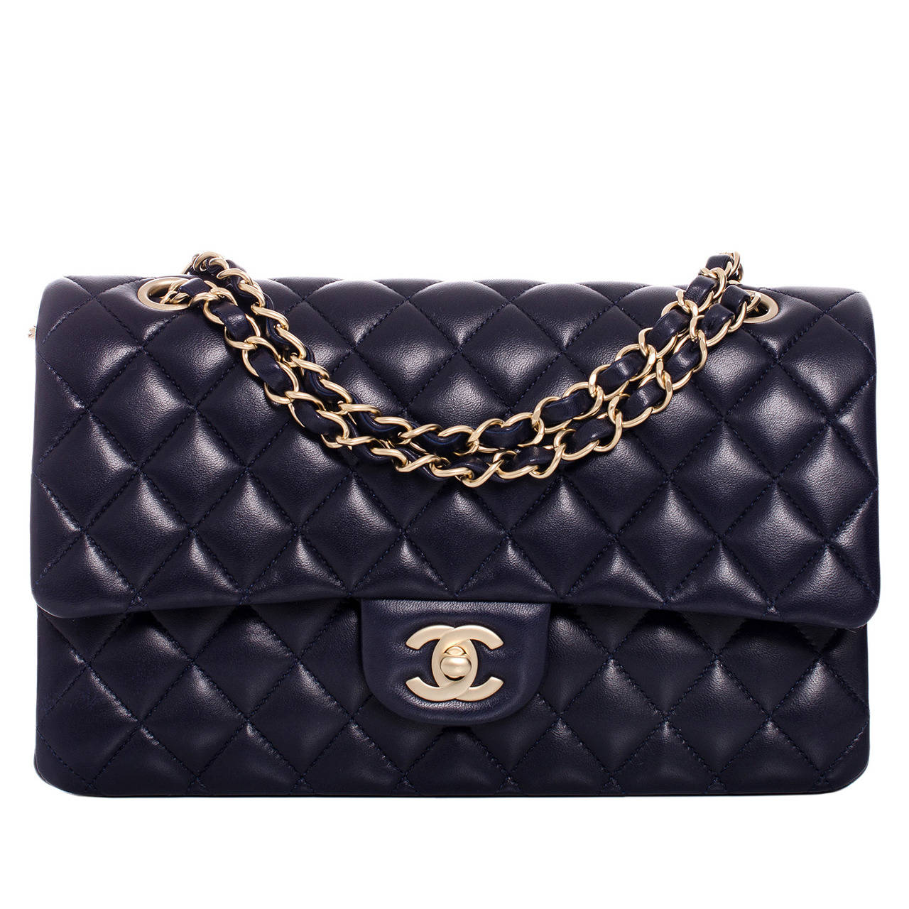 Chanel Navy Blue Quilted Lambskin Large Classic Double