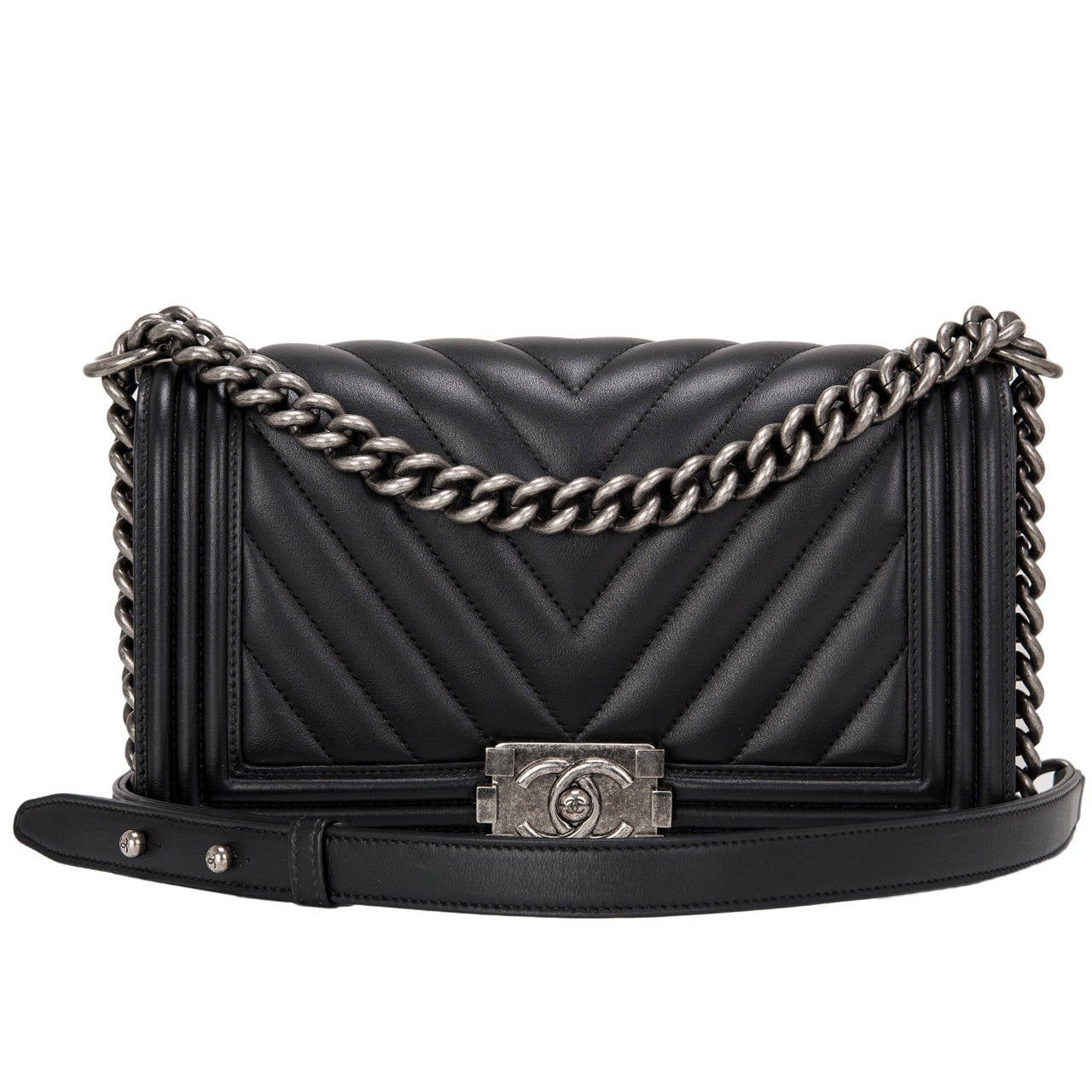 Chanel Black Chevron Medium Boy Bag At 1stdibs