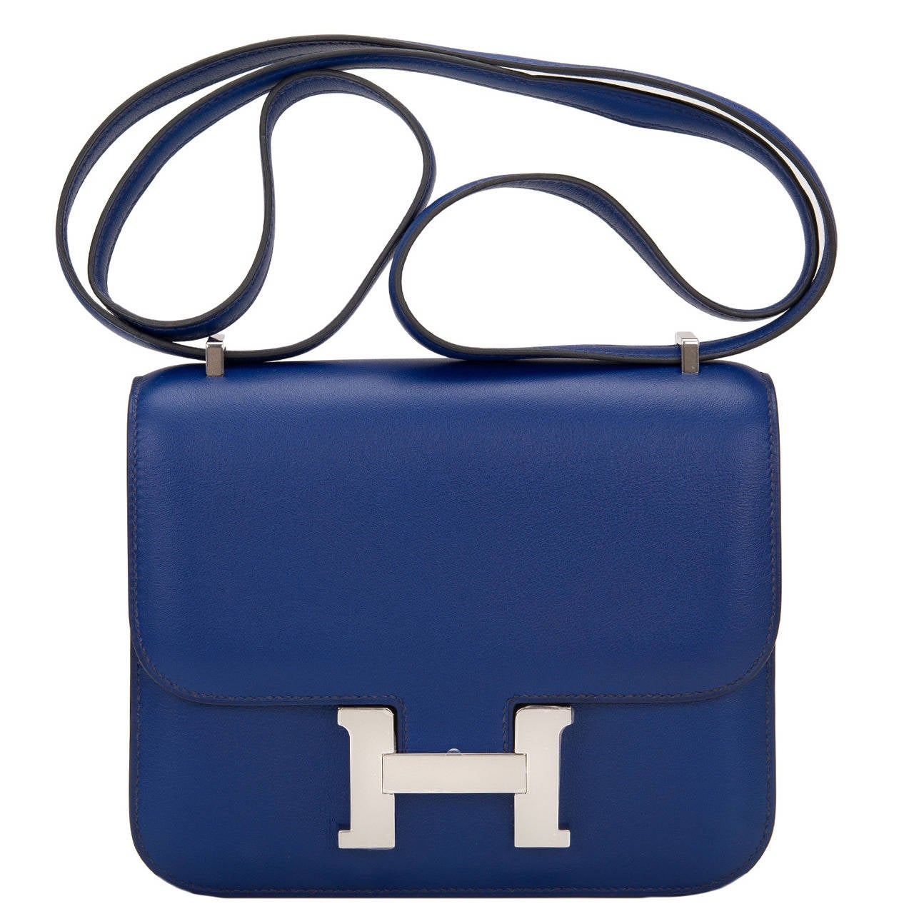 Hermes Blue Sapphire Swift Mini Constance 18cm For Sale