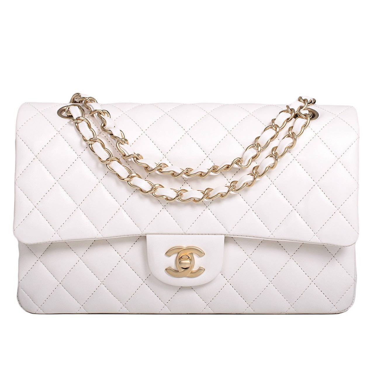 Chanel White Quilted Lambskin Large Classic Double Flap Bag Gold Hardware For Sale