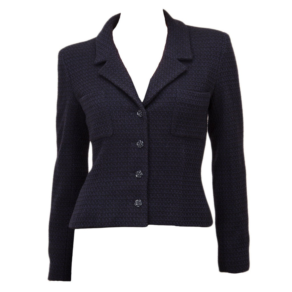Chanel Navy Boucle Camellia Buttoned Jacket Blazer 36 4 At