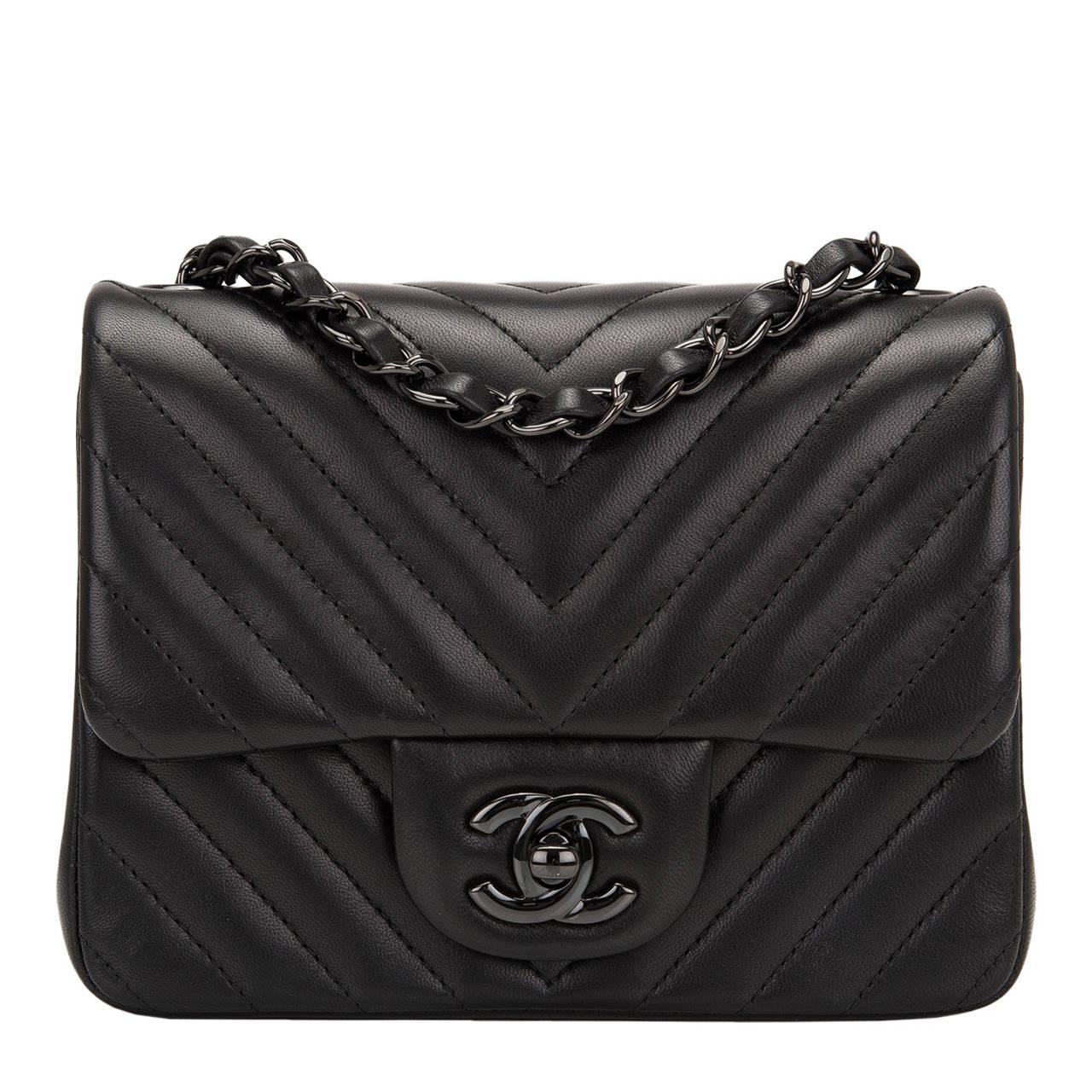 Chanel So Black Chevron Mini Flap Bag At 1stdibs