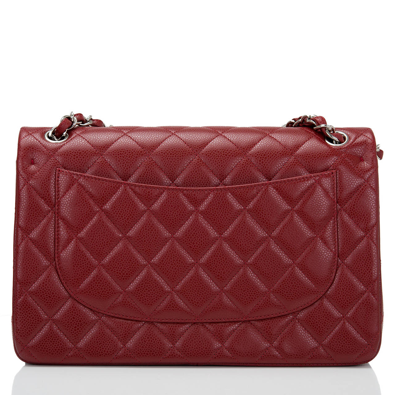 Brown Chanel Dark Red Quilted Caviar Jumbo Classic Double Flap Bag For Sale