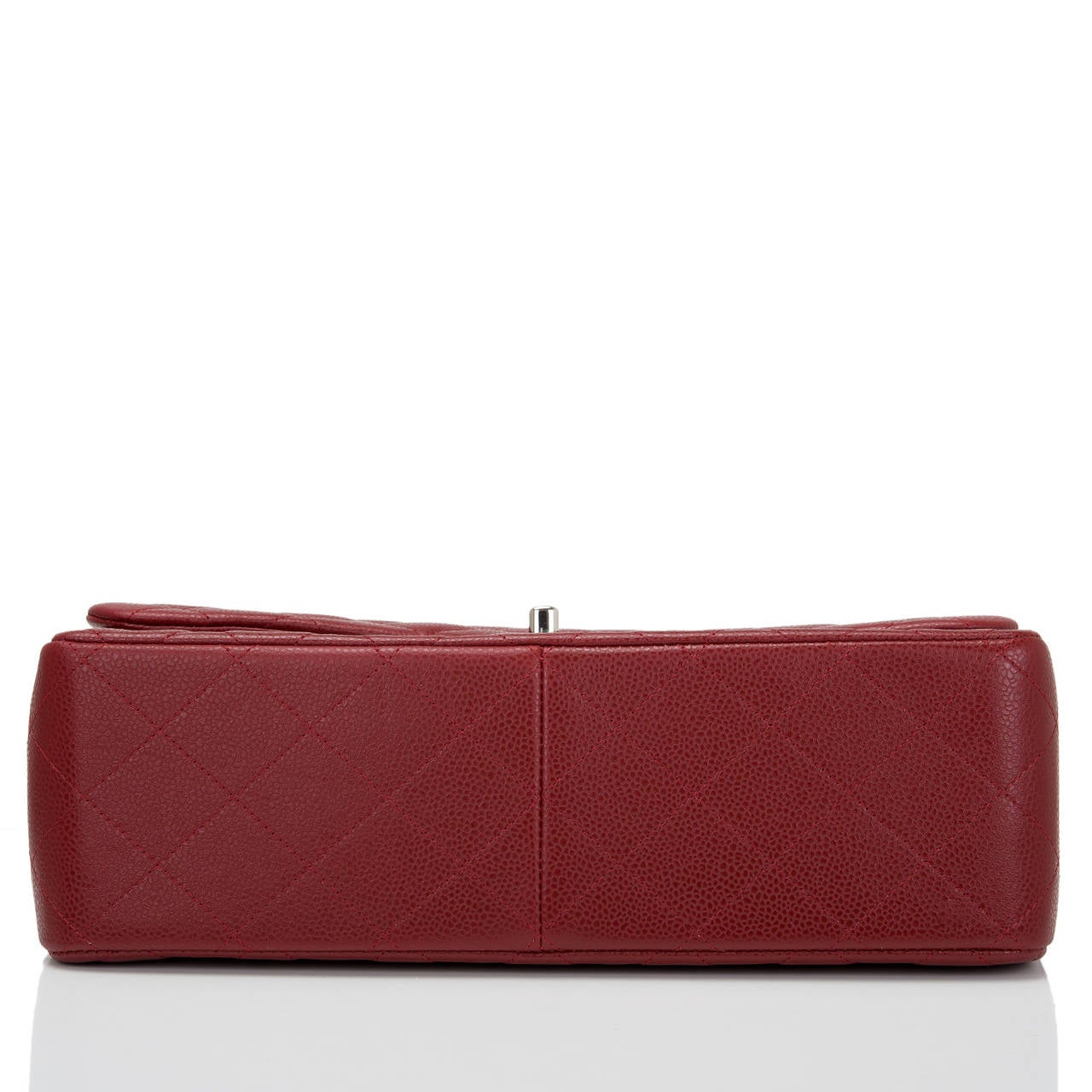 Chanel Dark Red Quilted Caviar Jumbo Classic Double Flap Bag In New Never_worn Condition For Sale In New York, NY
