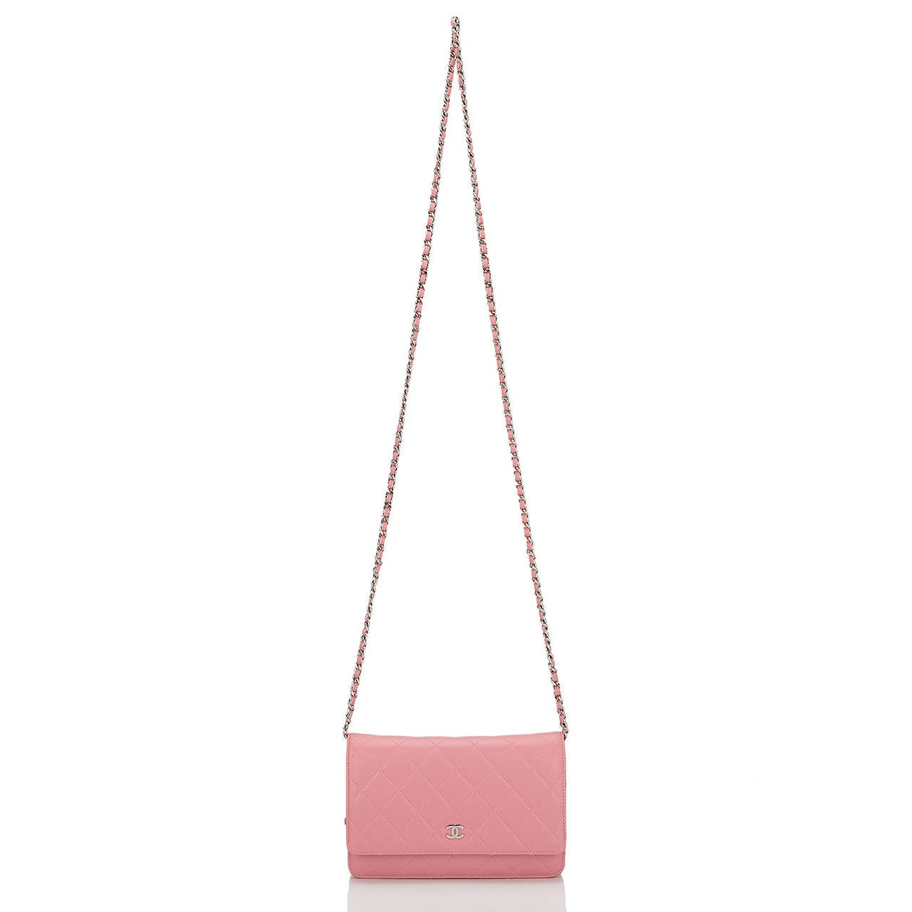 Chanel Blush Pink Lambskin Classic Wallet On Chain (WOC) For Sale 1