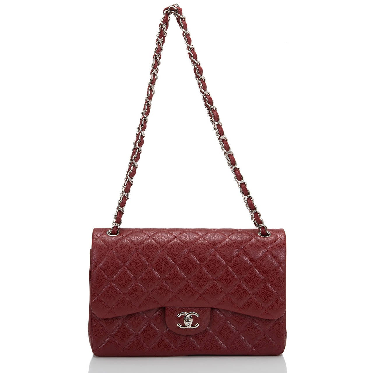 Women's Chanel Dark Red Quilted Caviar Jumbo Classic Double Flap Bag For Sale