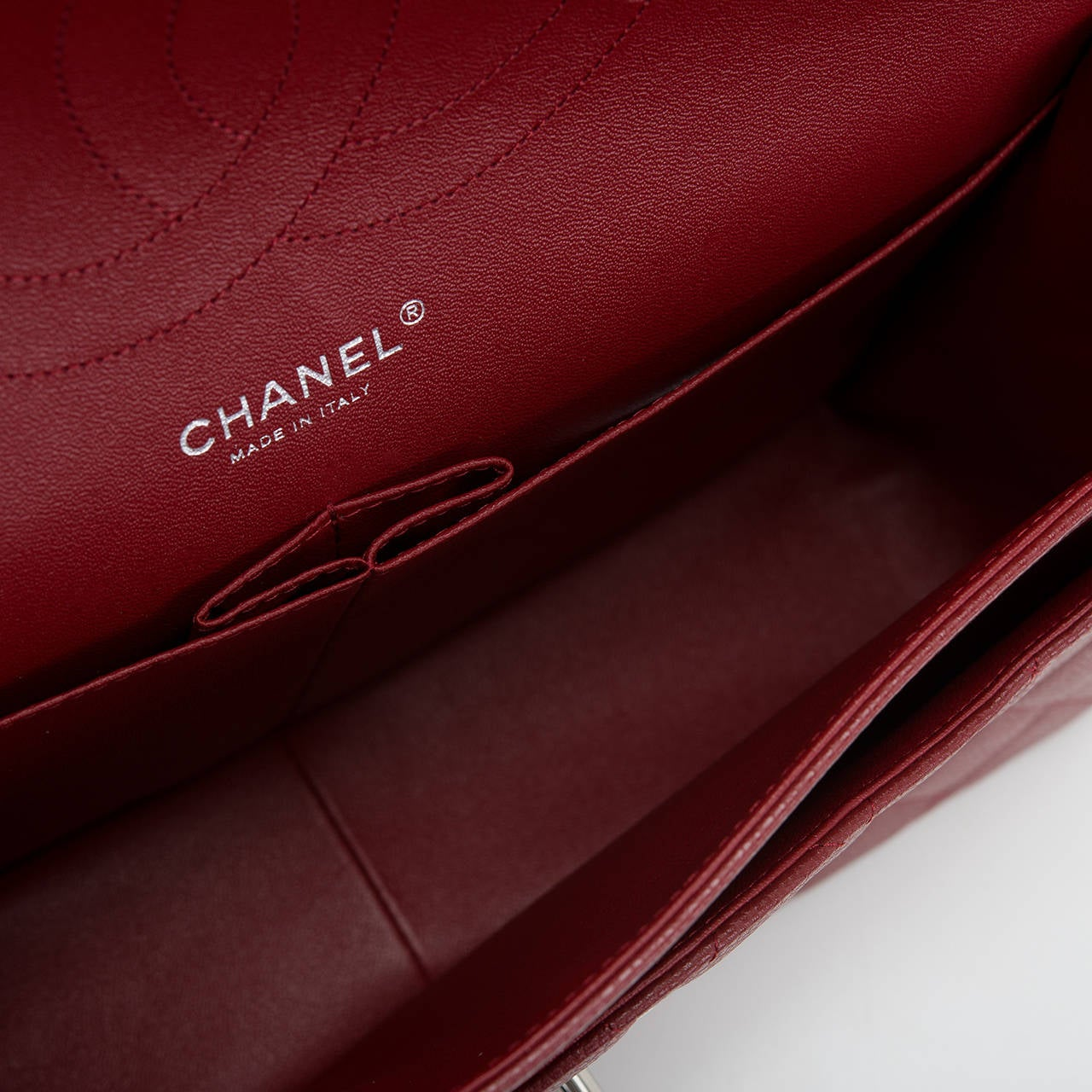 Chanel Dark Red Quilted Caviar Jumbo Classic Double Flap Bag For Sale 1