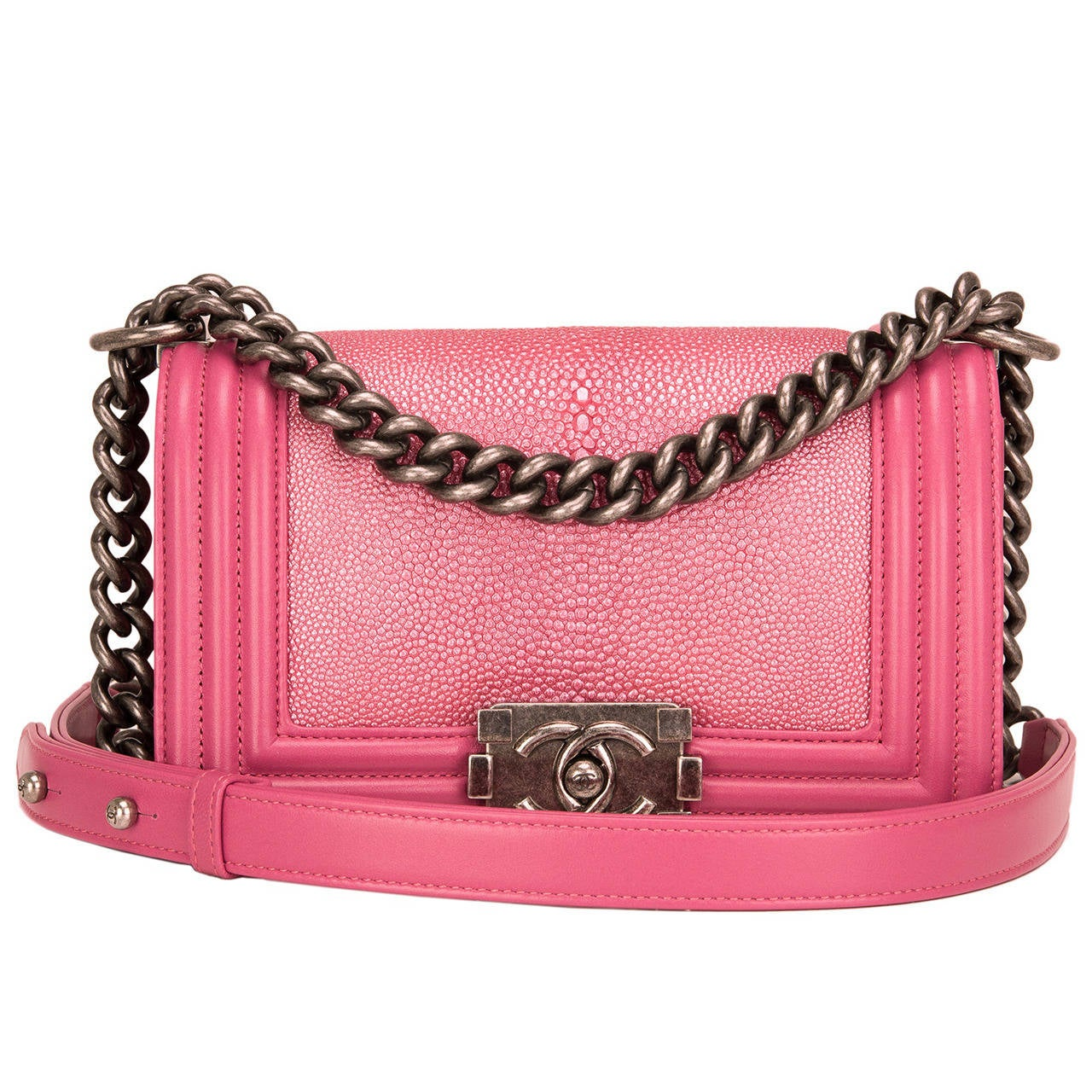 Chanel Metallic Pink Stingray Small Boy Bag At 1stdibs