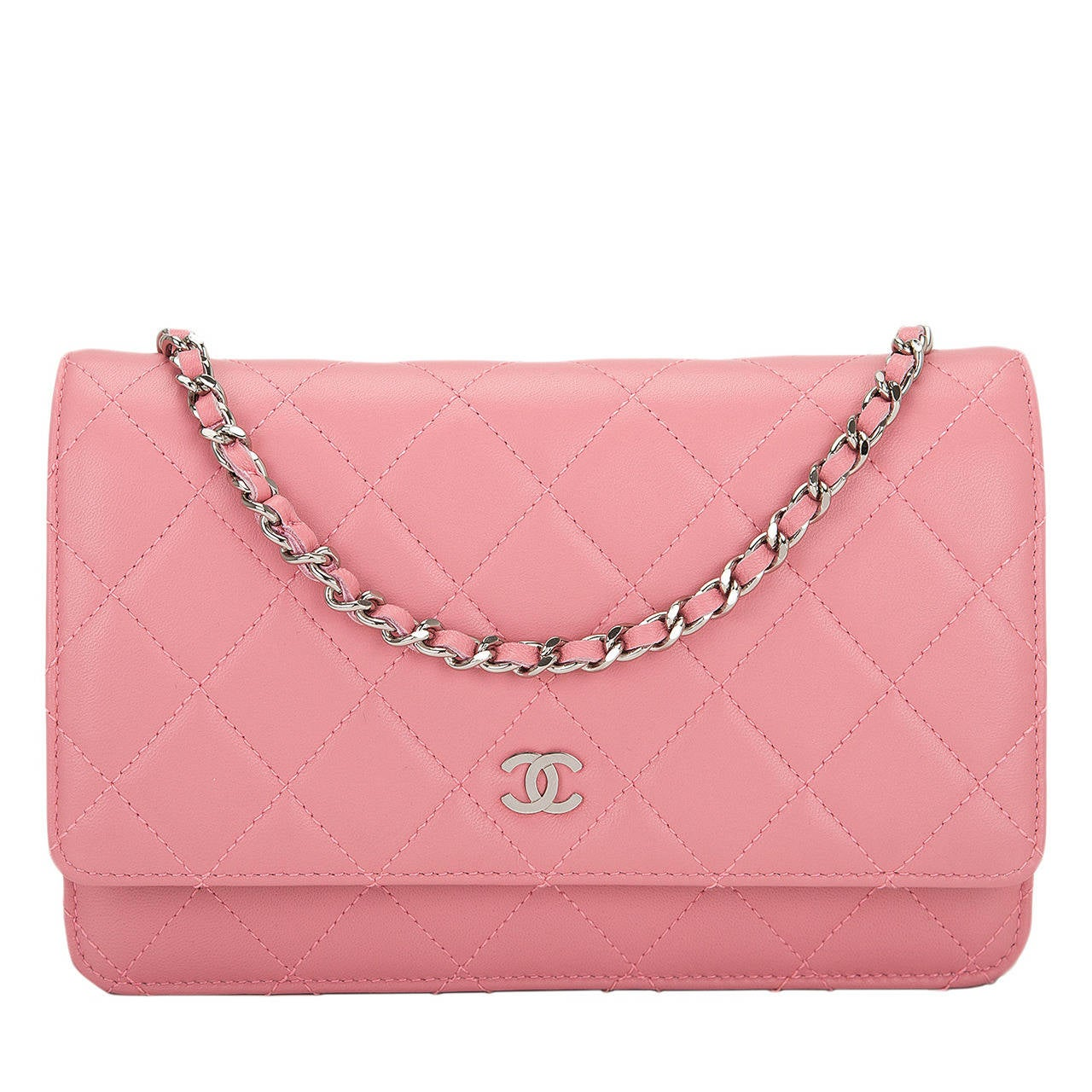 Chanel Blush Pink Lambskin Classic Wallet On Chain (WOC) For Sale