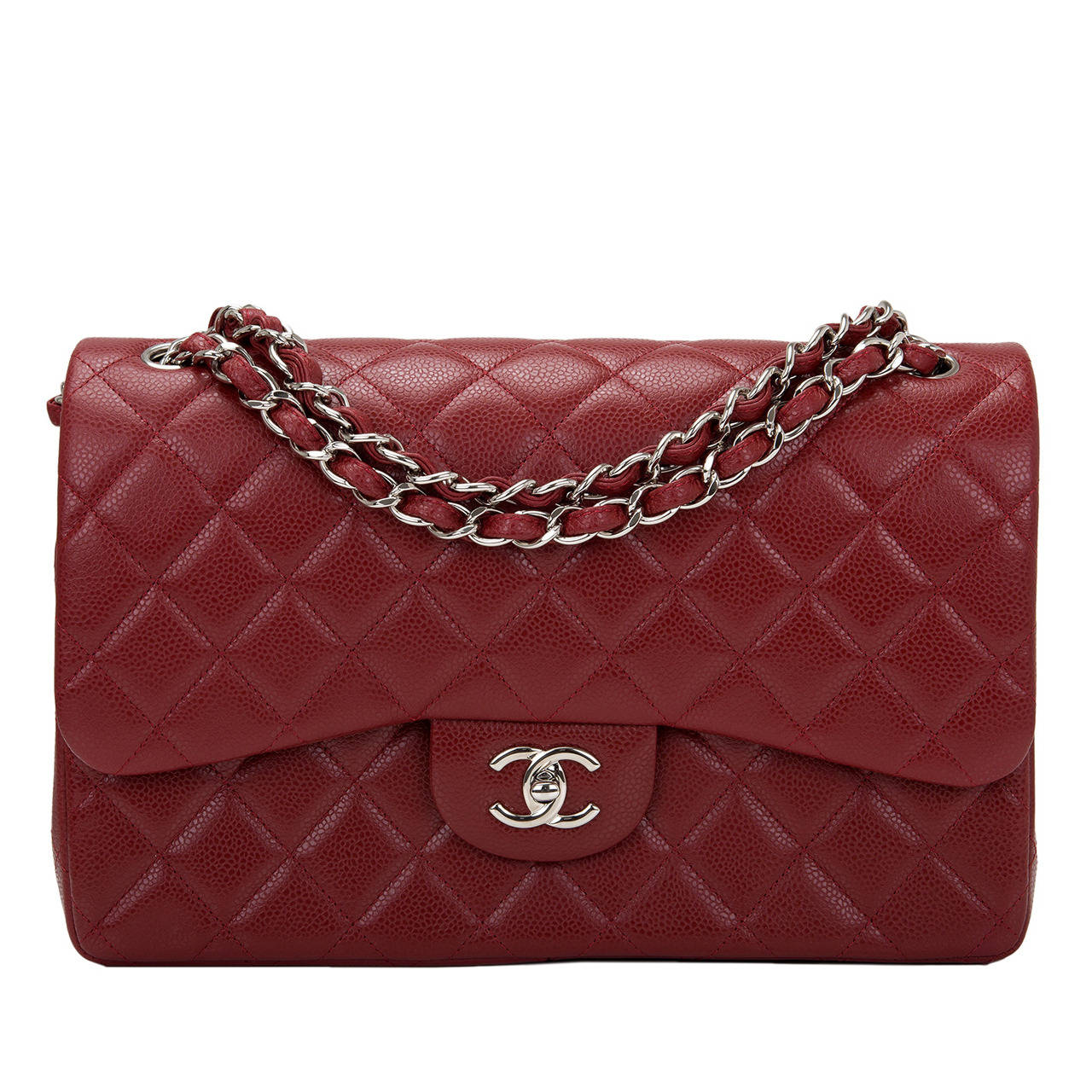 Chanel Dark Red Quilted Caviar Jumbo Classic Double Flap Bag For Sale