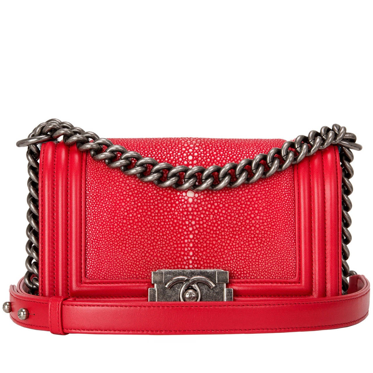 Chanel Red Stingray Small Boy Bag For Sale
