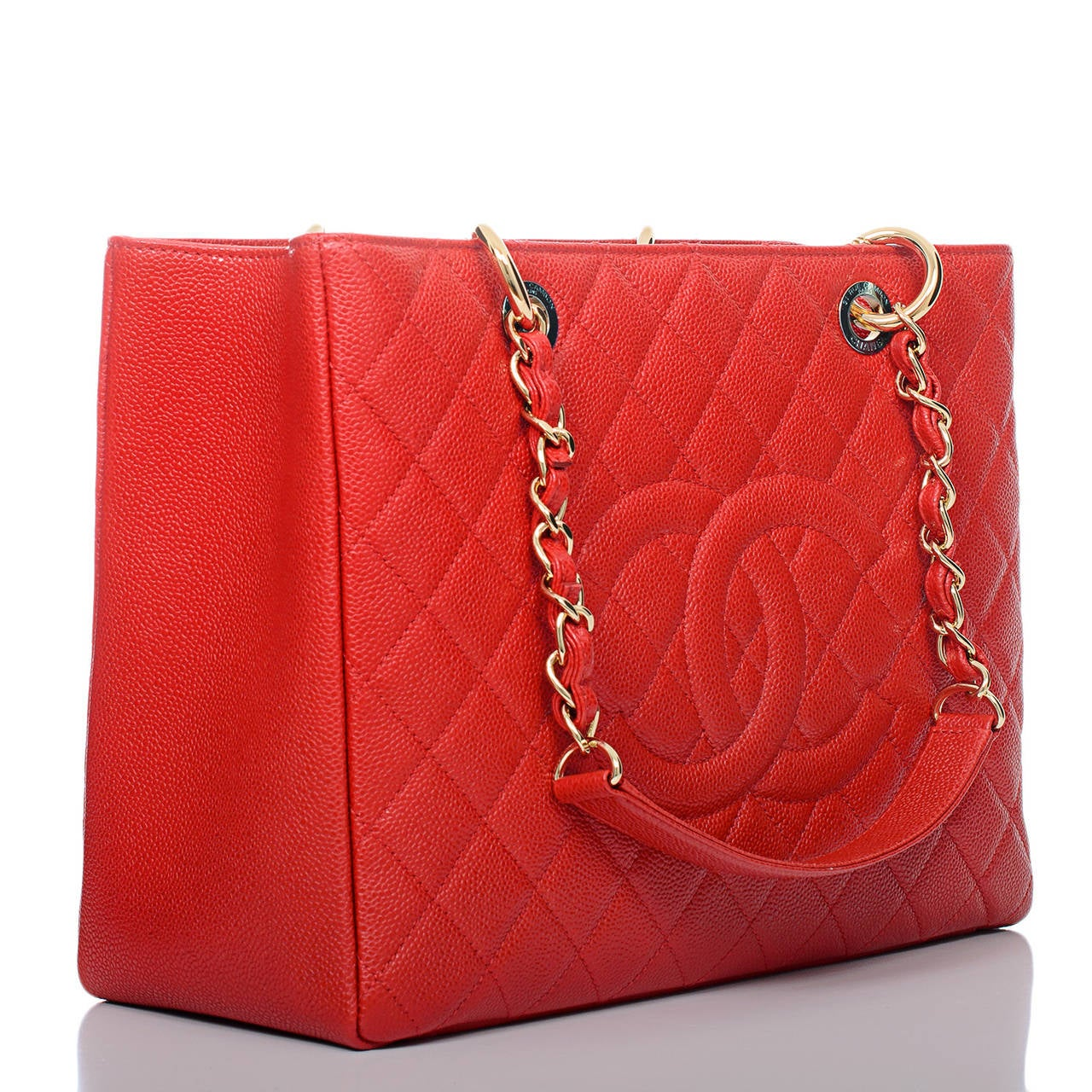 chanel red quilted caviar grand shopper tote gst bag image 2
