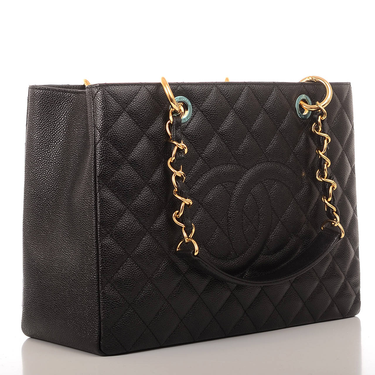chanel black quilted caviar grand shopper tote gst bag at 1stdibs. Black Bedroom Furniture Sets. Home Design Ideas