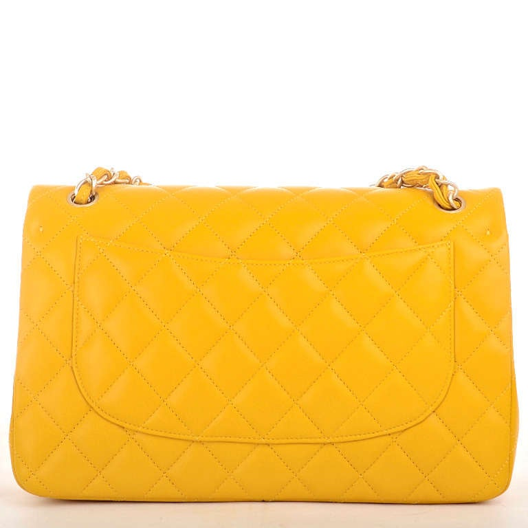 Women's Chanel Yellow Quilted Lambskin Jumbo Classic Double Flap Bag Gold Hardware For Sale