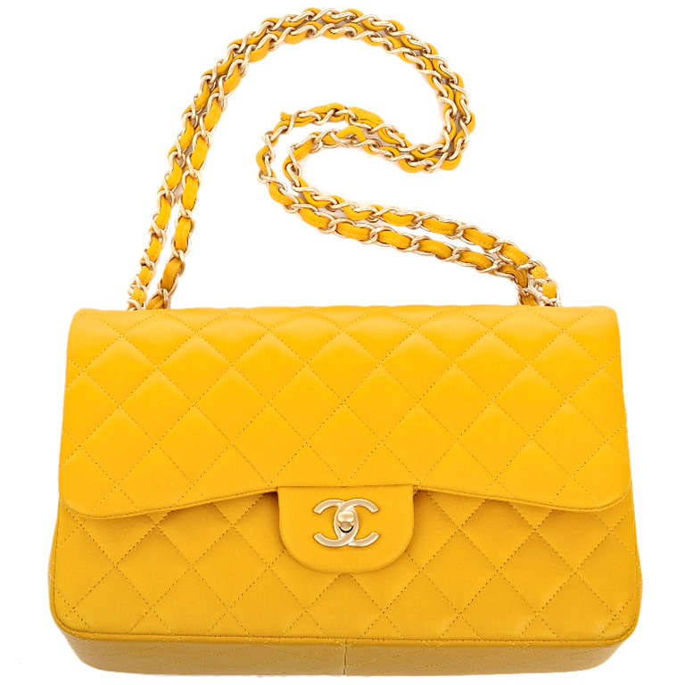 Chanel Yellow Quilted Lambskin Jumbo Classic Double Flap Bag Gold Hardware For Sale 3