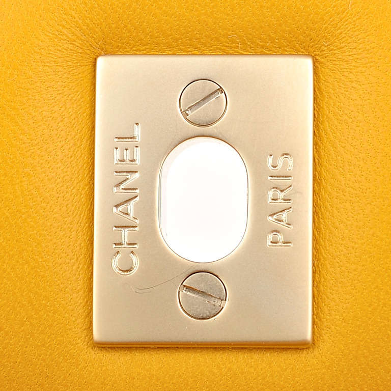 Chanel Yellow Quilted Lambskin Jumbo Classic Double Flap Bag Gold Hardware For Sale 4