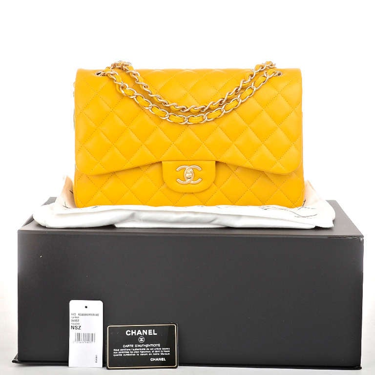 Chanel Yellow Quilted Lambskin Jumbo Classic Double Flap Bag Gold Hardware For Sale 6