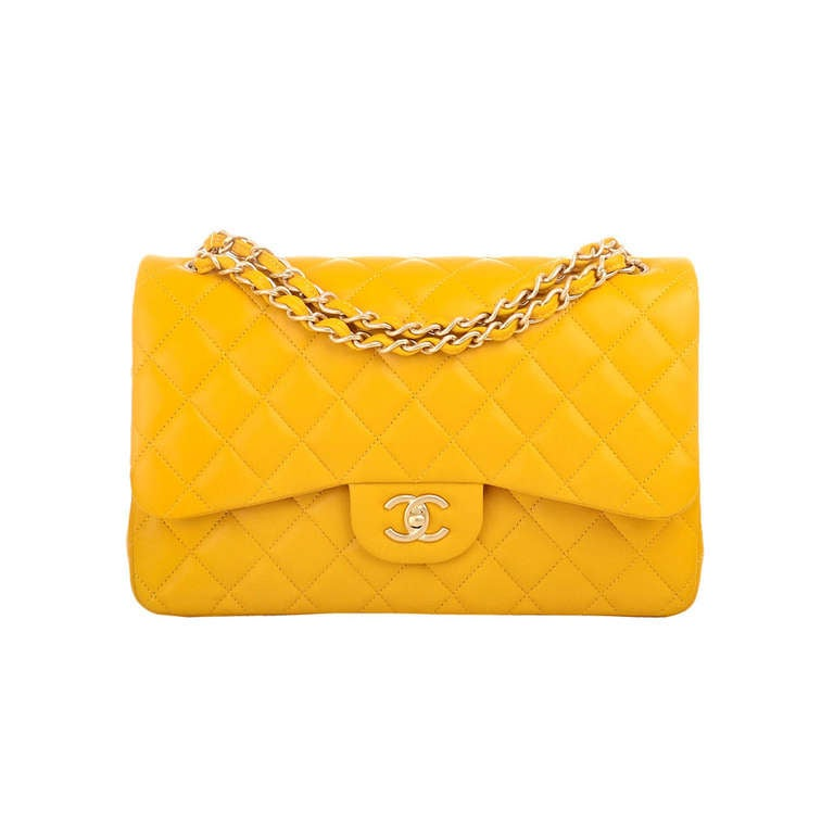Chanel Yellow Quilted Lambskin Jumbo Classic Double Flap Bag Gold Hardware For Sale