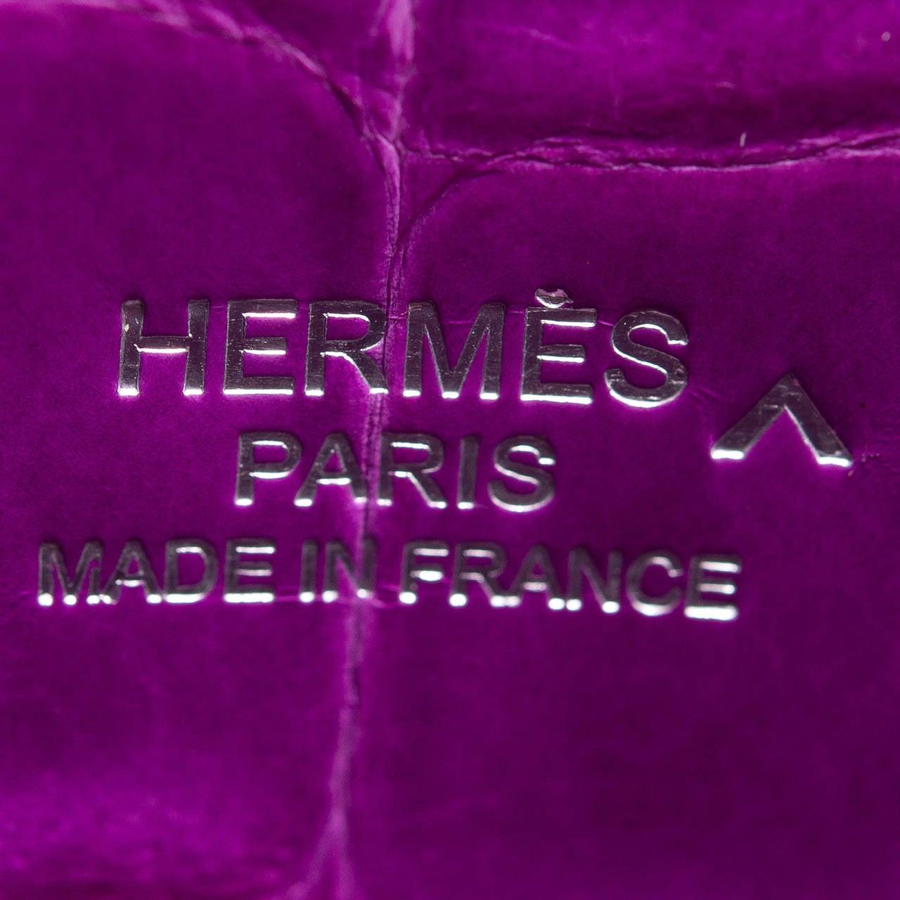 Hermes Violet Shiny Porosus Crocodile Kelly Cut at 1stdibs