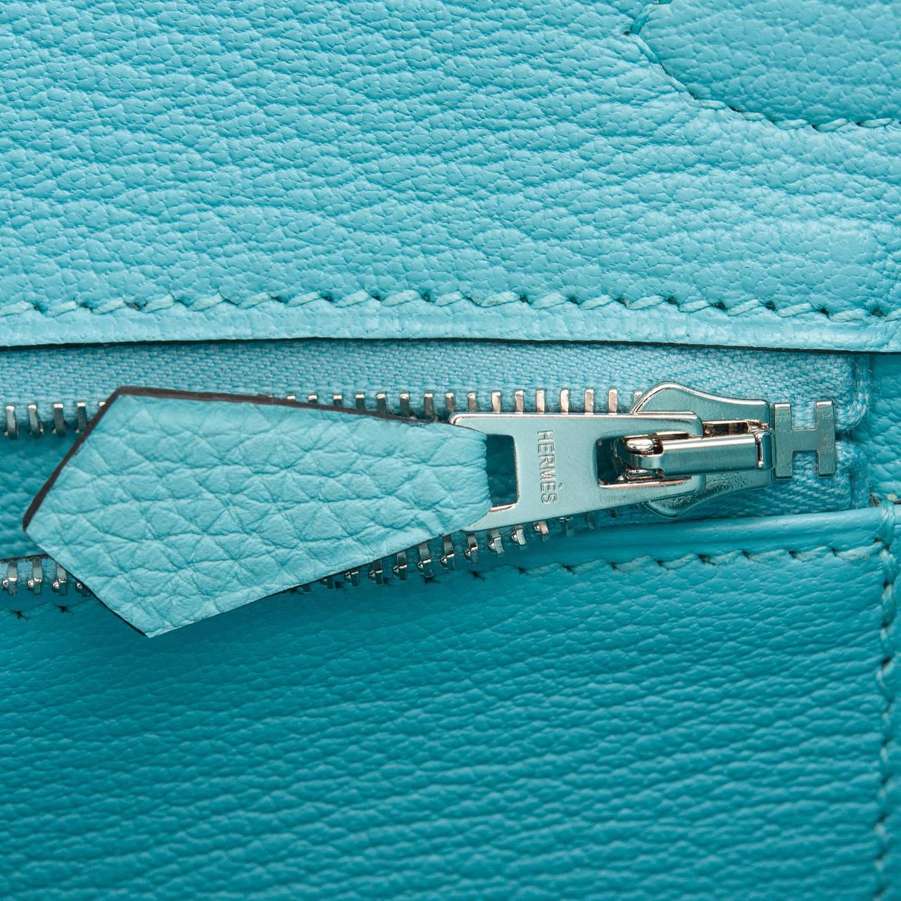 Hermes Blue Atoll Togo Birkin 30cm Palladium Hardware