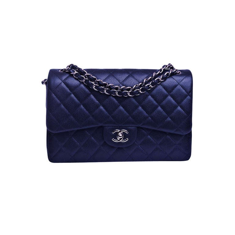 chanel midnight blue quilted caviar jumbo classic 2 55