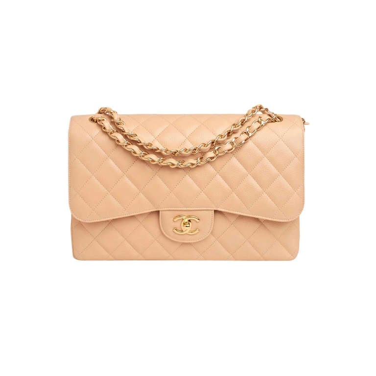 Chanel Beige Quilted Caviar Jumbo Classic 2.55 Double Flap Bag For Sale