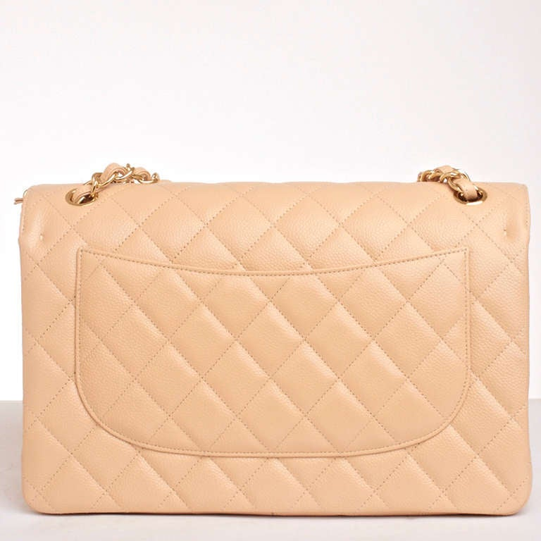 Chanel Beige Quilted Caviar Jumbo Classic 2.55 Double Flap Bag For Sale 1
