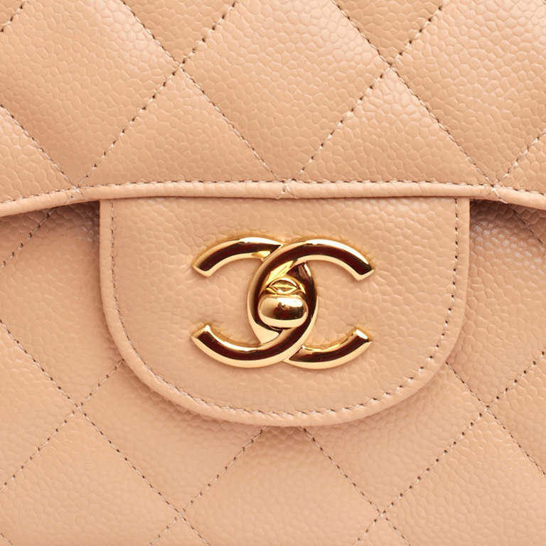 Chanel Beige Quilted Caviar Jumbo Classic 2.55 Double Flap Bag For Sale 3