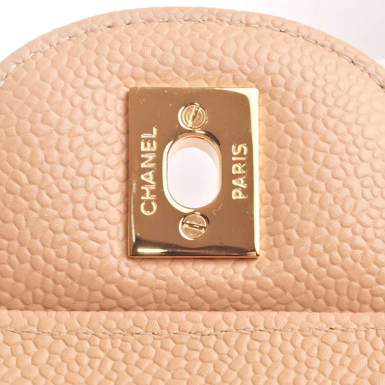 Chanel Beige Quilted Caviar Jumbo Classic 2.55 Double Flap Bag For Sale 4