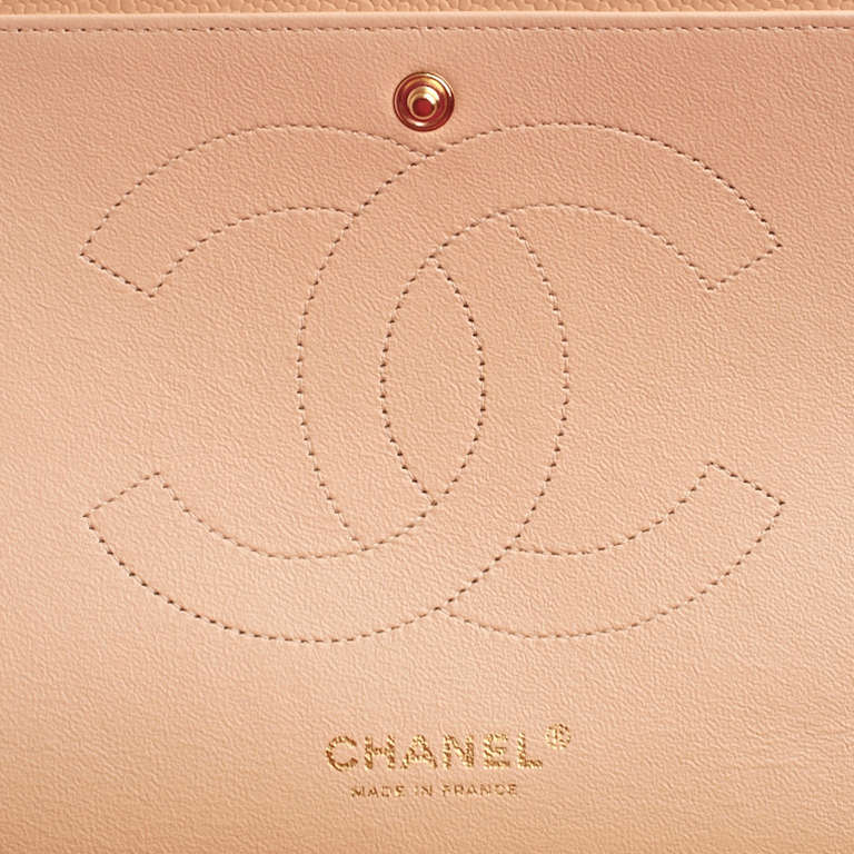 Chanel Beige Quilted Caviar Jumbo Classic 2.55 Double Flap Bag For Sale 5