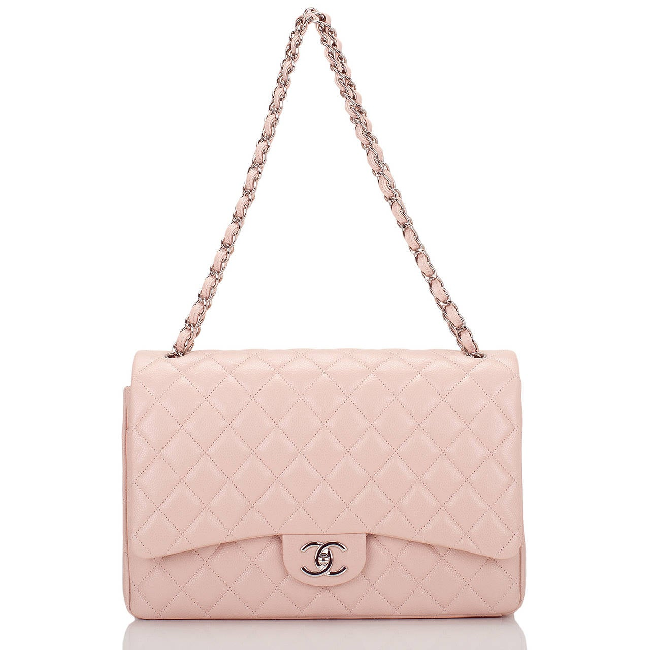 Chanel Light Pink Quilted Caviar Maxi Classic Double Flap Bag For Sale 1