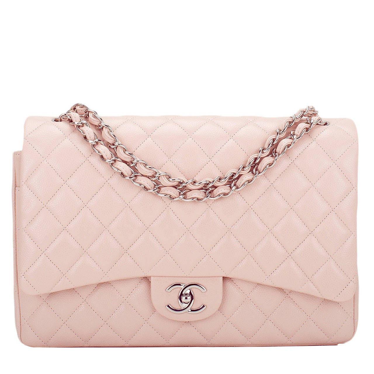 Chanel Light Pink Quilted Caviar Maxi Classic Double Flap Bag For Sale