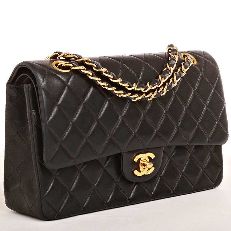 Chanel Black Quilted Lambskin Classic Small Flap Shoulder Bag ... : chanel quilted small bag - Adamdwight.com